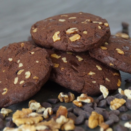 double choc hazelnut cookie